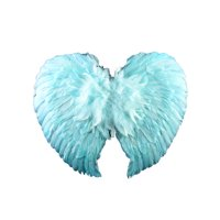 """20"""" Blue Fluffy Feather Accent Angel Wings Costume Accessory"""