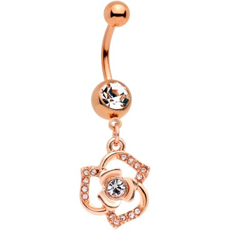Body Candy Rose Gold Tone Pvd Steel Navel Ring Piercing Clear Accent Flower Dangle Belly Button Ring 11mm