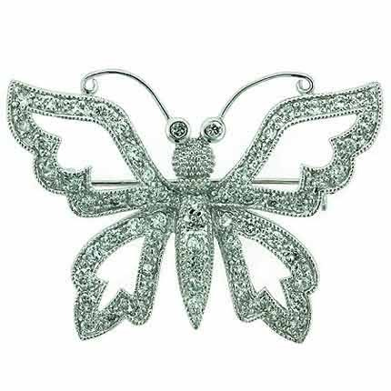 Sterling Silver Simulated Diamond Cubic Zirconia pave Filigree Buterfly Pin by SilverSpeck
