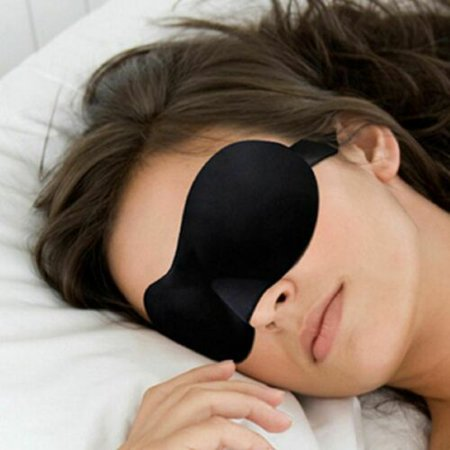 Eye Sleep Mask - Eye Cover For Sleeping 3D Comfy Memory Foam Travel Mask Mens Womens Health Sleep Patch Camping Eye Shades Blindfold Satin Silky Lightweight Black Night Mask Travel Eye Shades
