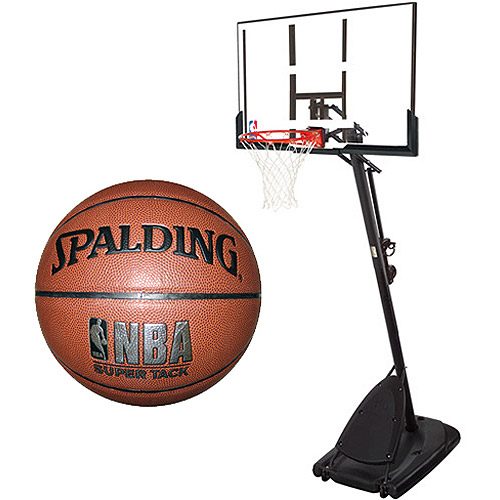 "Spalding 54"" Angled Portable Backboard System with NBA Super Tack Basketball Bundle"