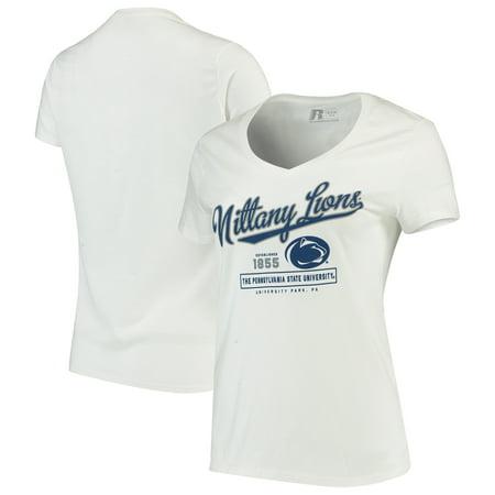 Penn State Football Shirts (Women's Russell White Penn State Nittany Lions Script V-Neck T-Shirt)