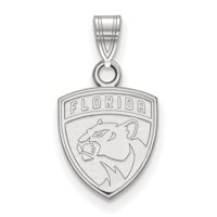 LogoArt Sterling Silver Rhodium-plated NHL Florida Panthers Small Pendant