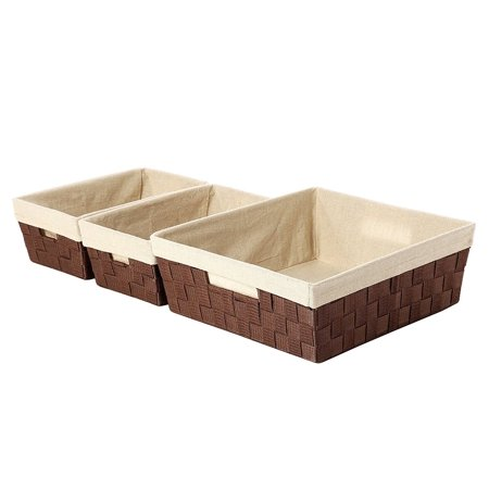 Fabric Storage Containers Bins Cube Decorative Organizer Nesting Baskets Brown Large 15 5 X 13 Inches Small 12 7 4