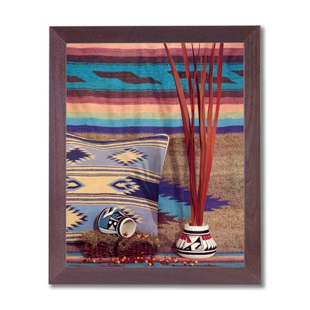 Southwestern Indian Pottery - Southwestern Native Indian Pottery #2 Wall Picture Cherry Framed Art Print