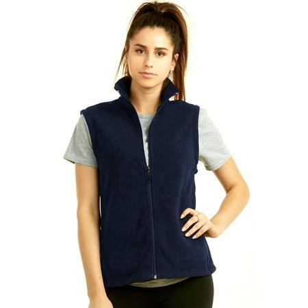 Fleece Print Vest - Ladies Polar Fleece Vest Sweater No Sleeve Casual Solid Zip Front Jacket S M L