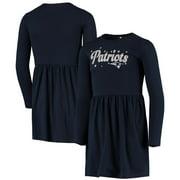 New England Patriots New Era Girls Youth Long Sleeve Dress - Navy