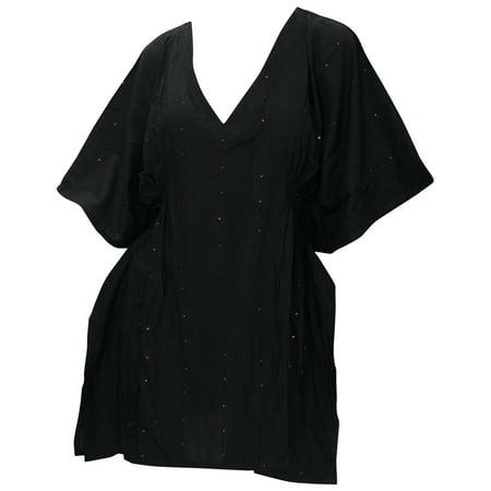 La Leela SOFT Rayon Sequin Embroidered Bikini Swimwear Cover ups Beach TUNIC - Sequin Swimsuit