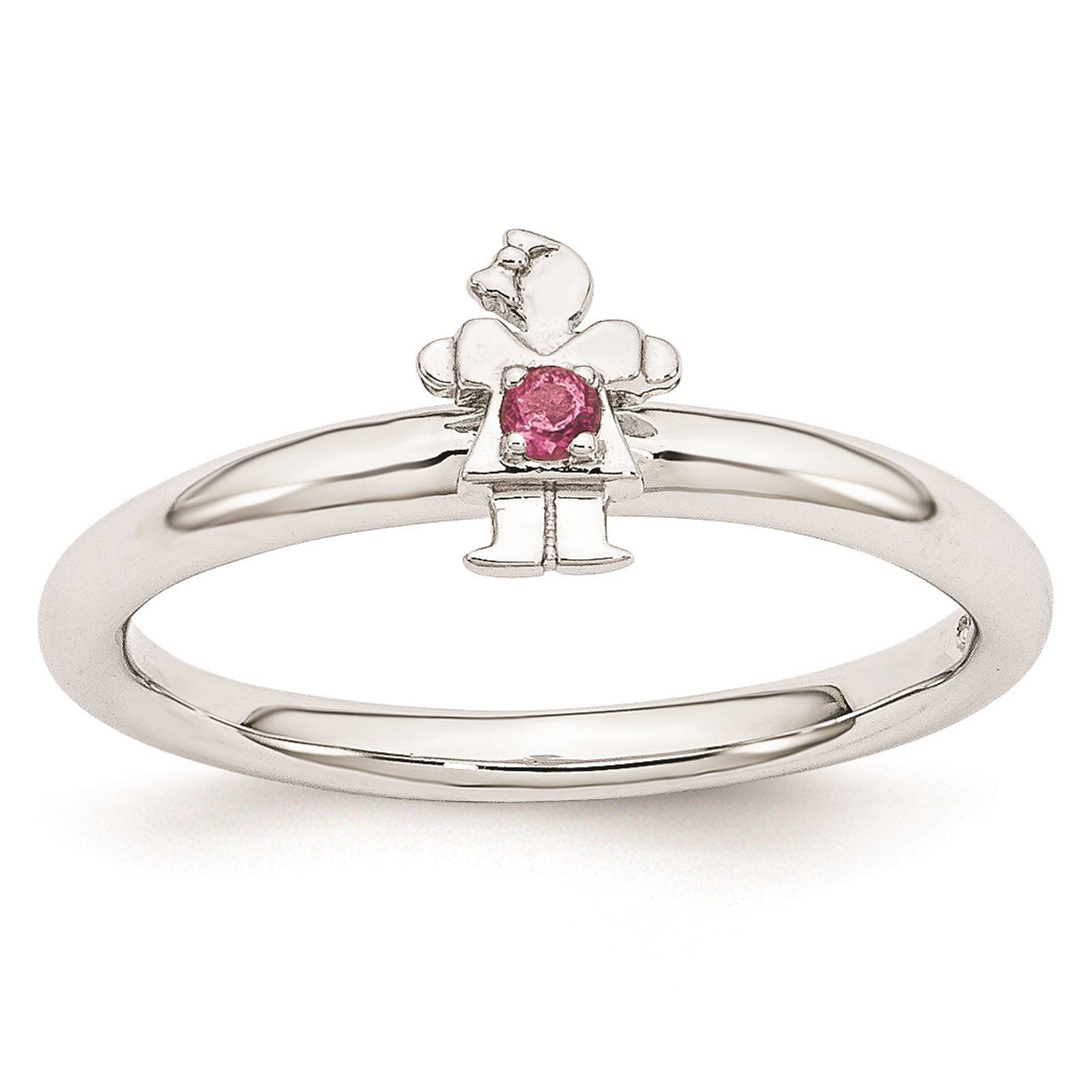 925 Sterling Silver Rhodium Plated Pink Tourmaline Girl Stackable Ring Size 6