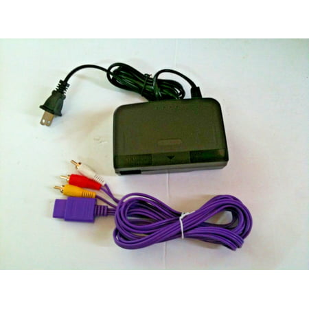 Combo Indigo AV Cable Cord & AC Power Adapter Cord Set For N64 Nintendo