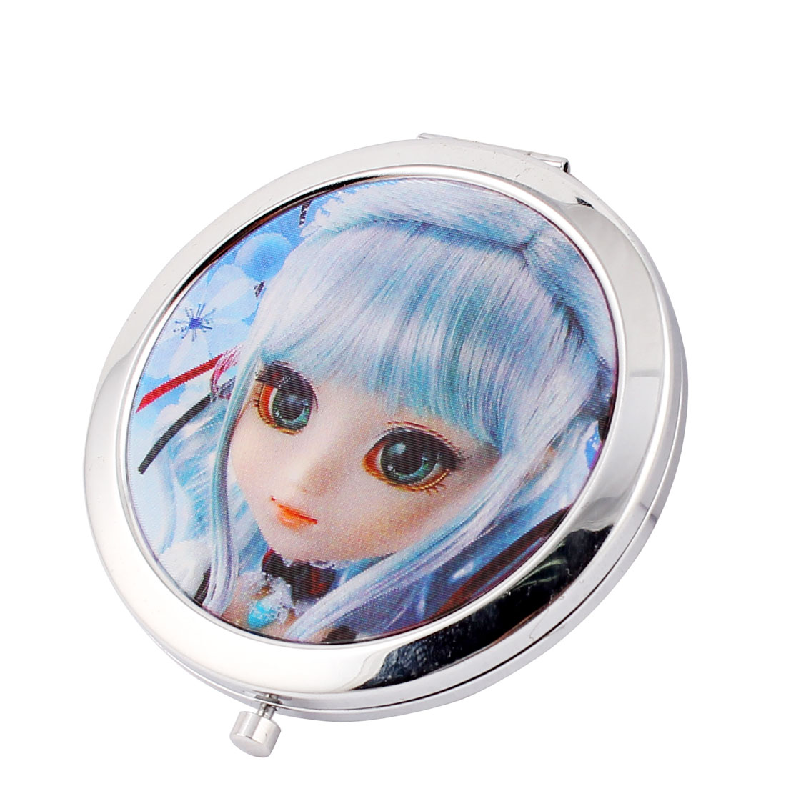 Handheld Girl Printed Double Sided Folding Metal Shell Cosmetic Mirror