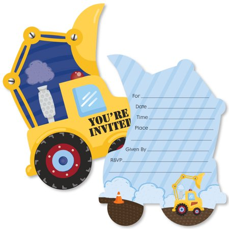 Construction Truck - Shaped Fill-In Invitations - Baby Shower or Birthday Party Invitation - 12 Ct