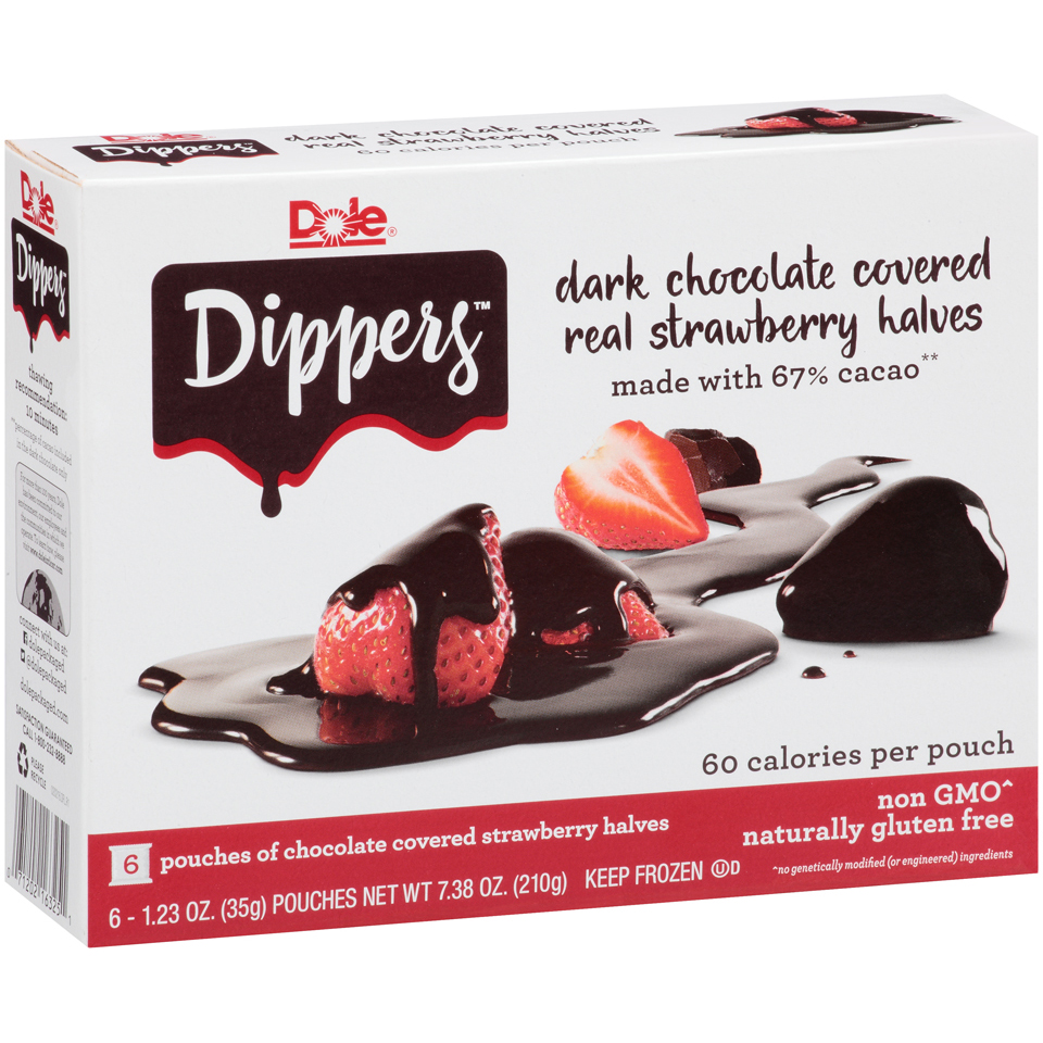 Dole Strawberry Dippers: dark chocolate covered real strawberry halves, 1.23 oz, 6 count