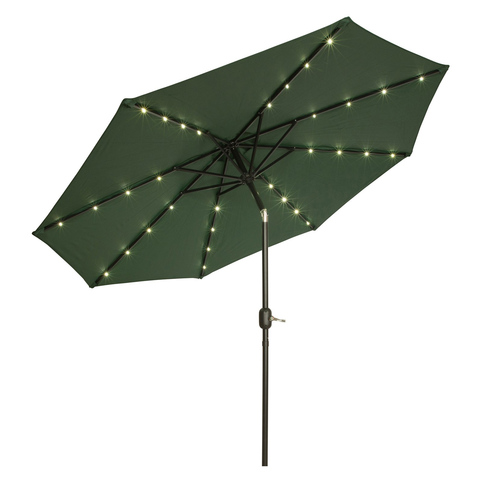 Deluxe Solar Powered LED Lighted Patio Umbrella 9' By Trademark Innovations (Black) by Trademark Innovations
