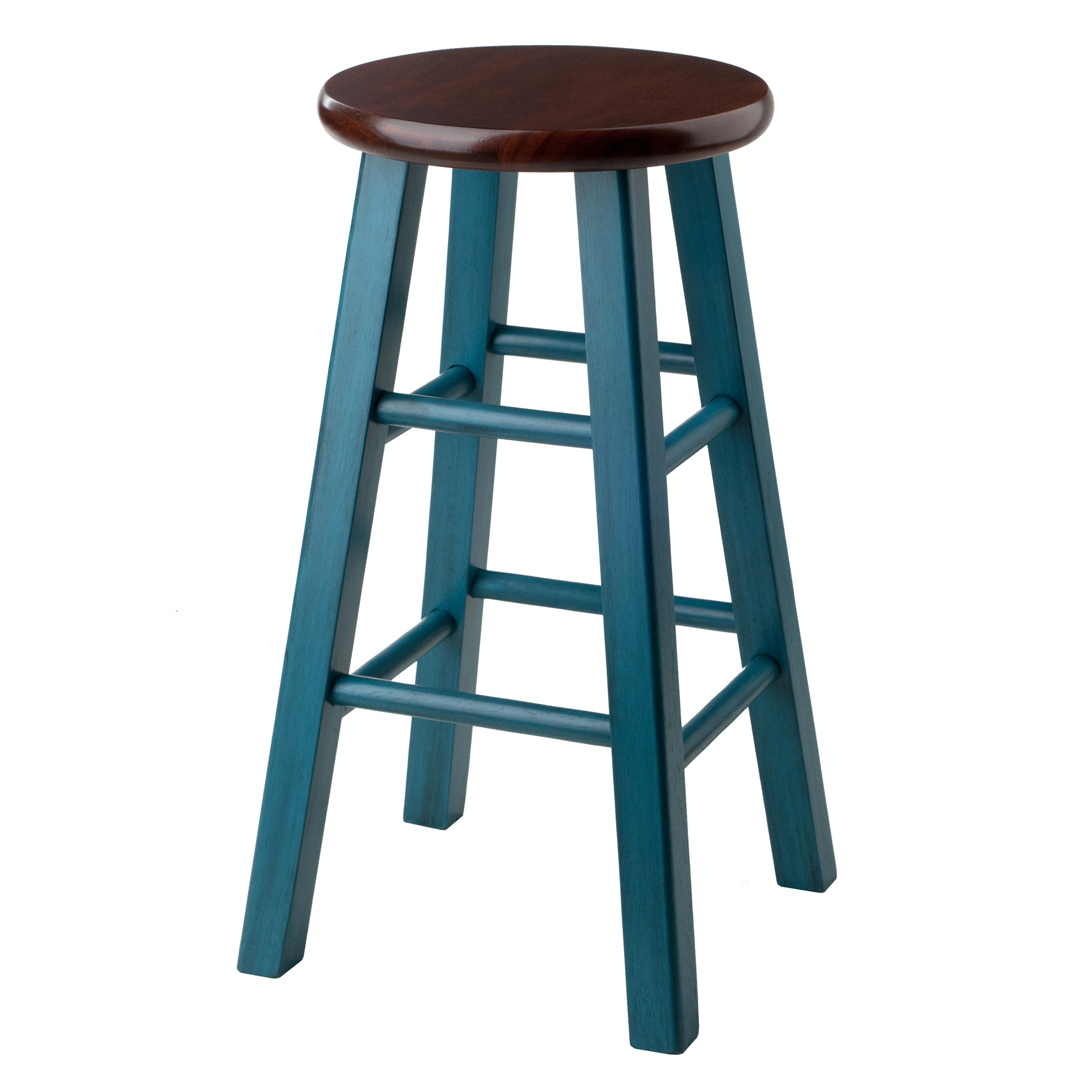 Winsome Wood Ivy 24 Counter Stool Rustic Teal W Walnut Seat