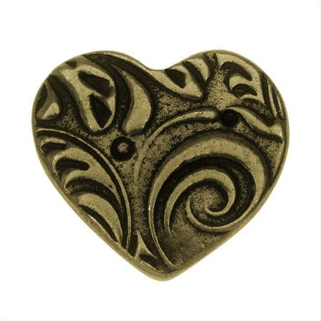 Amor Heart - TierraCast Button, Amor Heart 14x15.5mm, 1 Piece, Brass Oxide Finish