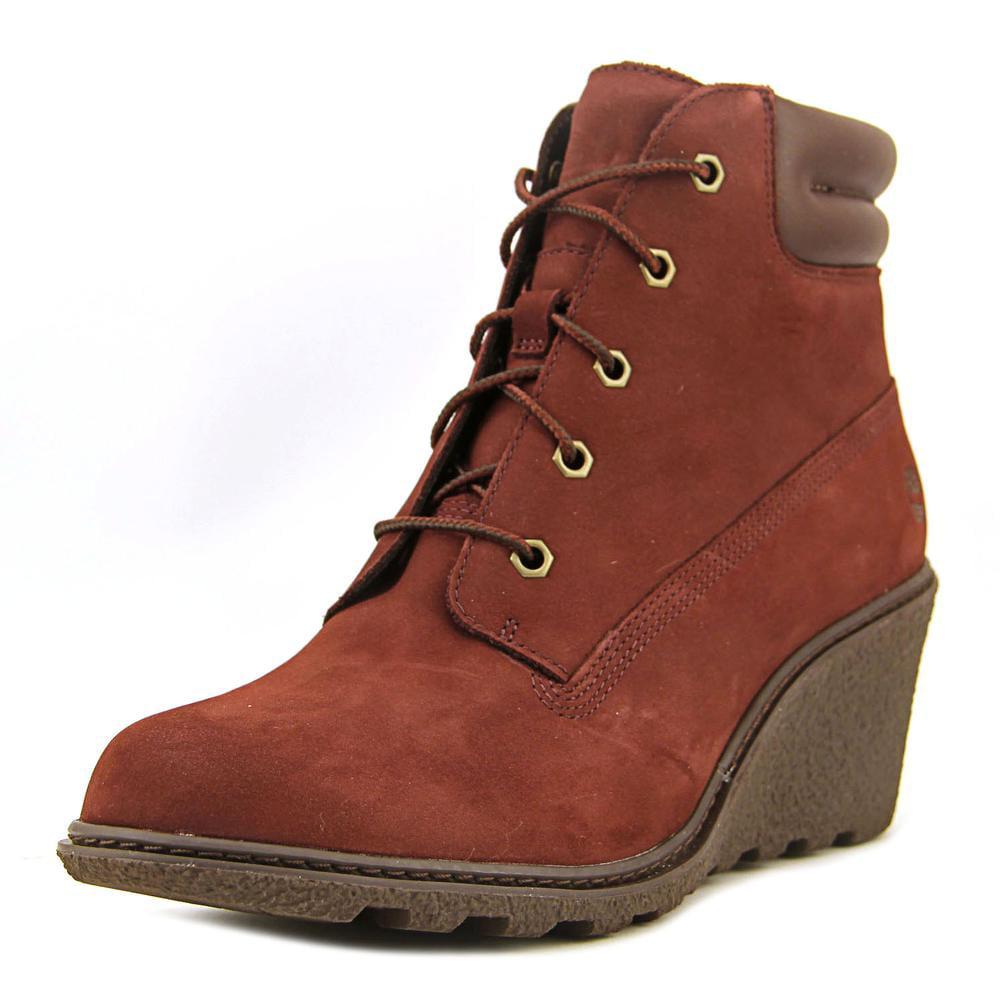 "Timberland Amston 6"" Hiker Women Open Toe Leather Burgundy Wedge Heel by Timberland"
