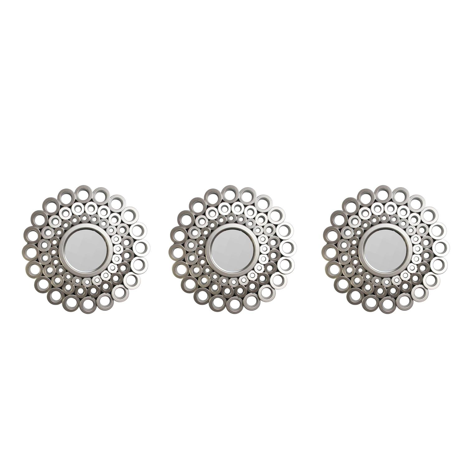 """Set of 3 Cascading Angular Orbs Matte Pewter Gray Decorative Round Mirrors 9.5"""" by Northlight"""
