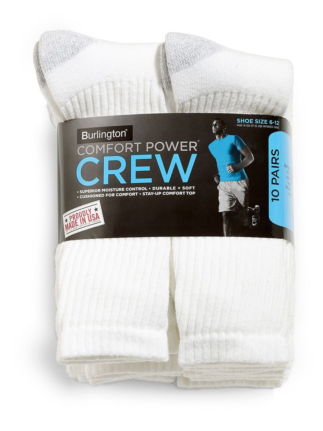 5 pairs BURLINGTON Comfort Men Athletic Socks Crew Thick 80/% Cotton White//Gray