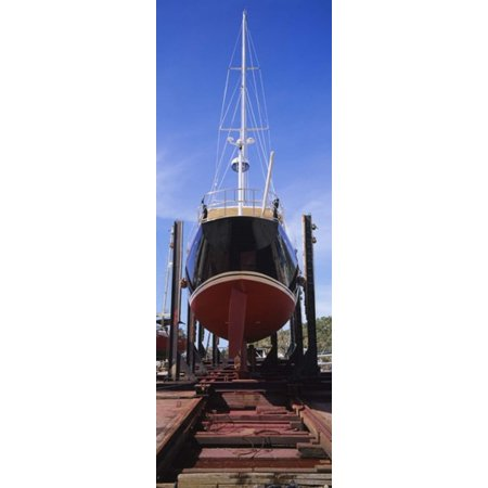 Low angle view of a sailing ship at a shipyard Antigua Stretched Canvas - Panoramic Images (18 x 7)