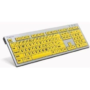 LogicKeyboard XLPrint PC Slim Line Keyboard with Large Print, Black on Yellow-LPRNTBY-AJPU-US