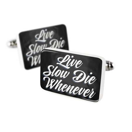 Cufflinks Classic design Live Slow Die Whenever Porcelain Ceramic NEONBLOND