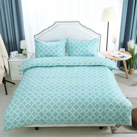 Brushed Velvet Lattice Pattern Bedding Set 2 Pillowcases Super King Green - image 8 of 8
