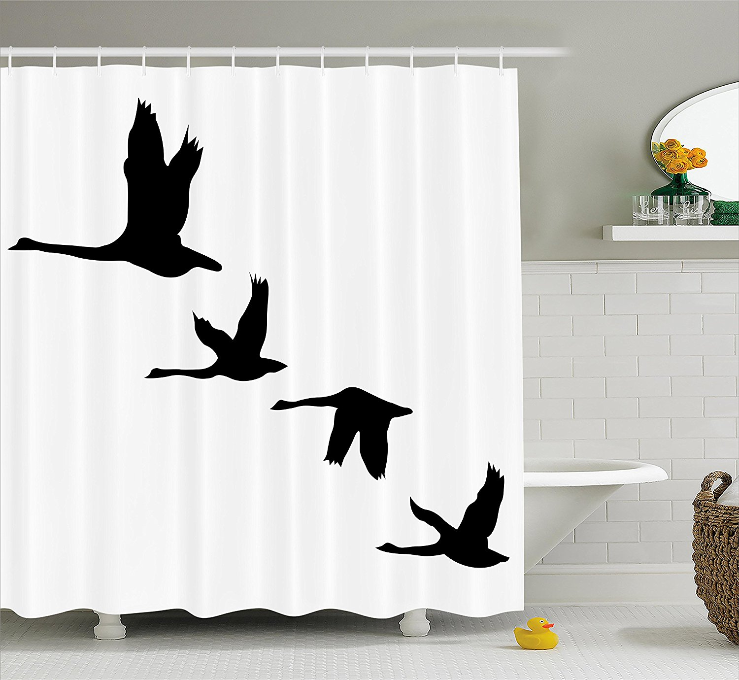 Bird Themed Bathroom Decor: Freedom Shower Curtain By , Silhouette Of Group Of Flying
