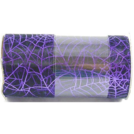 Nantucket Home Halloween Creepy Scarfing, 4.5 Inches X 15 Feet (Purple Spider Web)](A Halloween Spider Web)