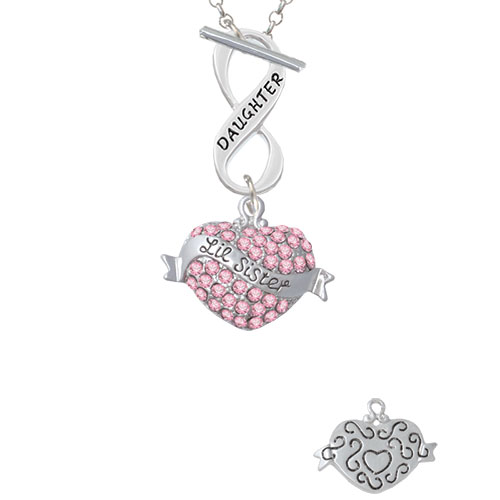 Lil Sister Banner on Pink Crystal Heart Daughter Infinity Toggle Chain Necklace