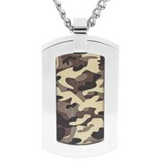 Coastal Jewelry Stainless Steel Brown Camouflage Dog Tag Pendant