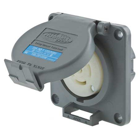 HUBBELL WIRING DEVICE-KELLEMS Watertight Locking Receptacle,30,Gray