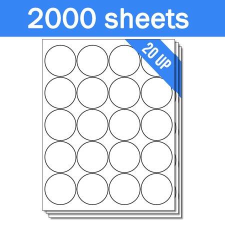 OfficeSmartLabels 2 inch Round Labels for Laser Inkjet ( 20 Labels Per  Sheet, White, 50 Sheets )