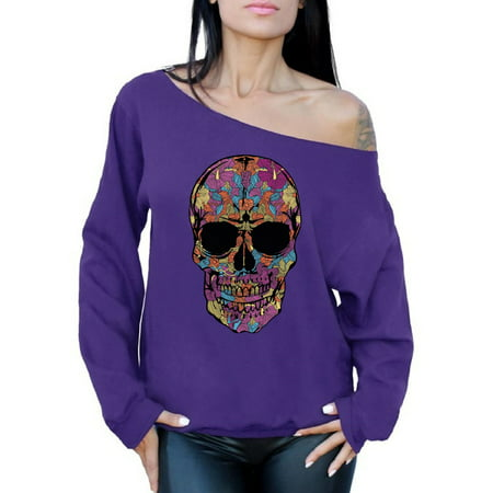 Awkward Styles Women's Black Flowered Skull Graphic Off Shoulder Tops Oversized Sweatshirt Floral Sugar Skull Day of Dead (Sugar Skull Pullover Hoodie)