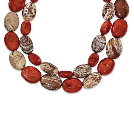 Sterling Silver Carnelian/Reconstituted Coral/Red Zebra Jasper Necklace, 26""