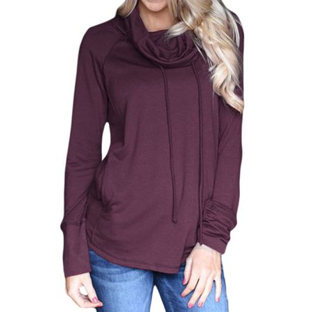 711ONLINESTORE Women Funnel Neck Drawstring Long Sleeve Solid Color Lightweight Shirt with Pockets