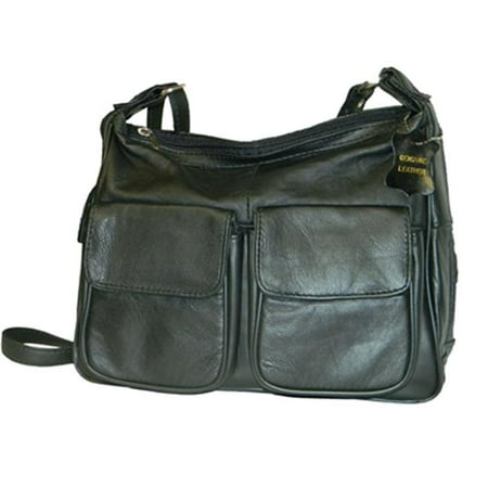 Leather In Chicago GD1870-BLK Lambskin Leather Shoulder Bag, Black (Lambskin Leather Purse Handbag)