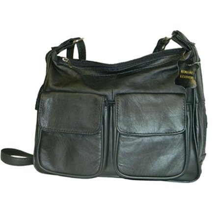 Leather In Chicago GD1870-BLK Lambskin Leather Shoulder Bag, Black (Leather Black Hobo Bag)