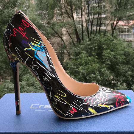 Codream Womens Pointed Toe High Heel Graffiti Colorful Women