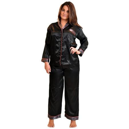 Up2date Fashion's Women's Shawl Collar Satin Pajama Set with Piping - Lined Satin Pajamas