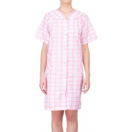 Women's Short Sleeve Snap-Front Plaid Seersucker Cotton House Coat by - Petite Seersucker