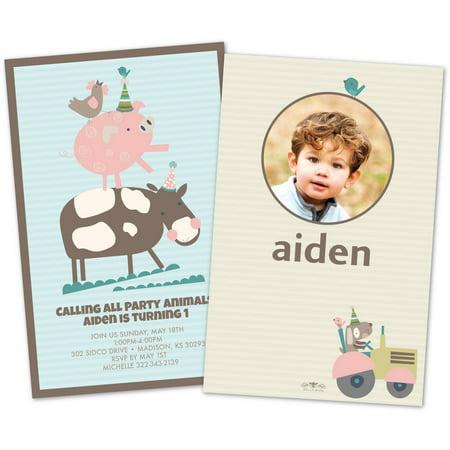 Personalized Farm Animals Photo Kids Birthday Party Invitations