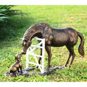 """Ebros Gift Fine Aluminum Metal Large Countryside BFF Buddies Horse and Dog by Barn Fence Garden Statue 25.75"""" Long Friendship Stallion Horses Dogs Animal Farm Western Rustic Country Decor Sculpture"""