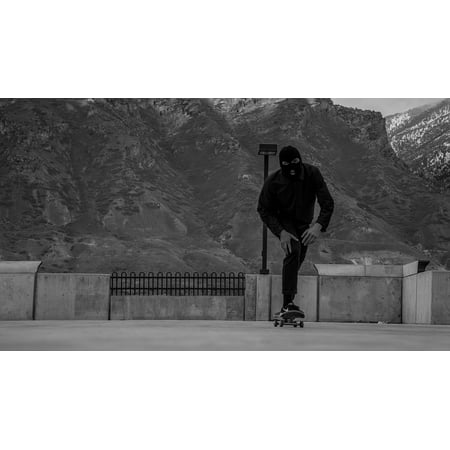 Sports Skateboarding (Canvas Print Black And White Man People Sport Skateboarding Stretched Canvas 10 x 14 )