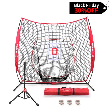 Morpilot  Baseball/Softball Bundle | 7x7 Hitting Net |Sturdy club set| 3 Weighted Training Balls | Strike Zone Target | Carry Bag | Practice Batting, Pitching, Catching | Backstop Screen Equipment