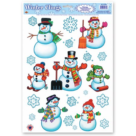 Club Pack of 192 Snowman Family and Snowflakes Window Clings Christmas Decorations 17