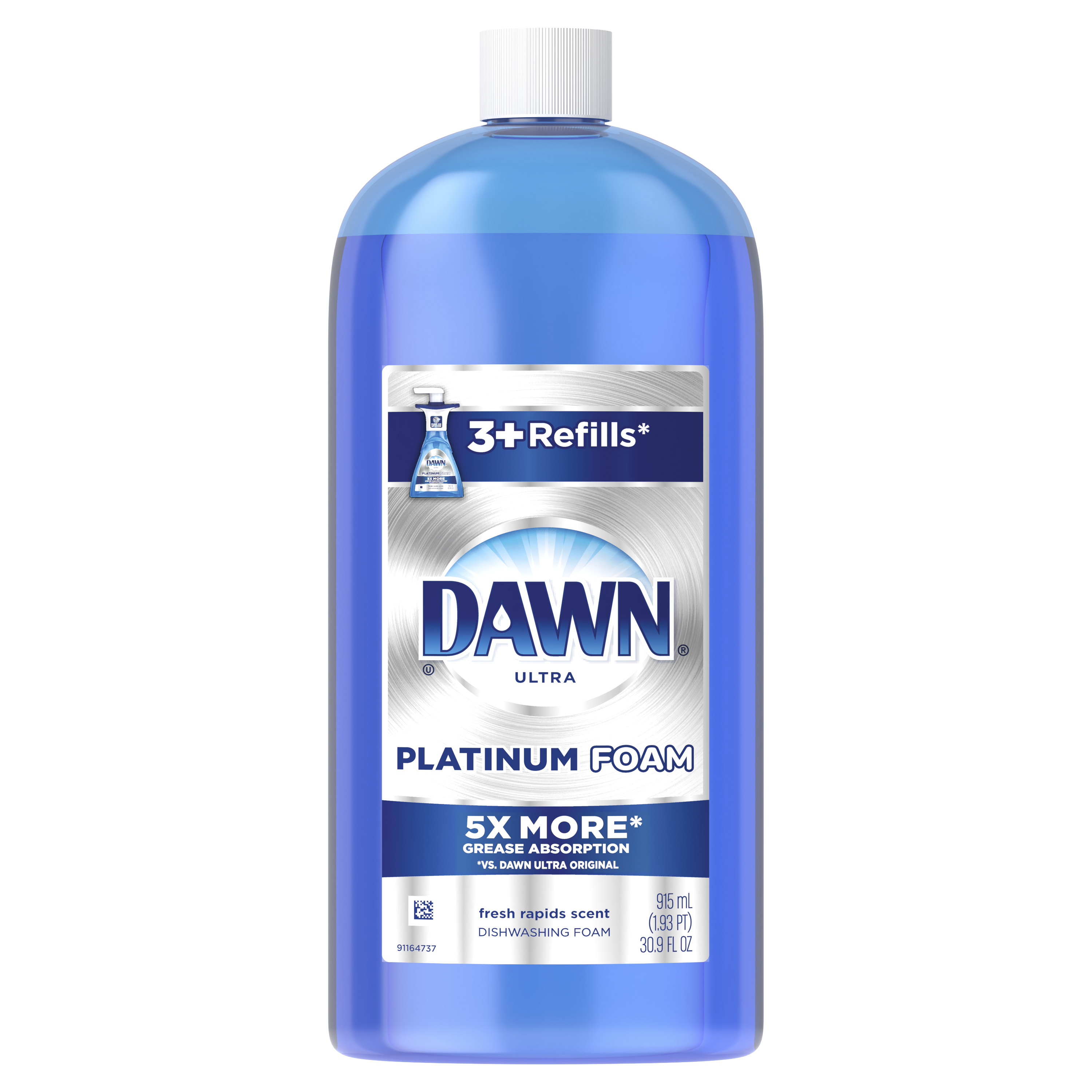 Dawn Ultra Platinum Foam Dishwashing Foam, Fresh Rapids Scent, 30.9 fl oz