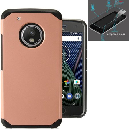 For Motorola Moto E4 Plus   Moto E 4 Plus Case   Tempered Glass Dual Layer Fusion Armor Hybrid Silicone Cover Hard Plastic  Rose Gold Black
