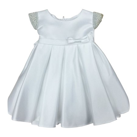 Baby Girls White Dull Satin Beaded Flower Girl Dress - White Toddler Dress