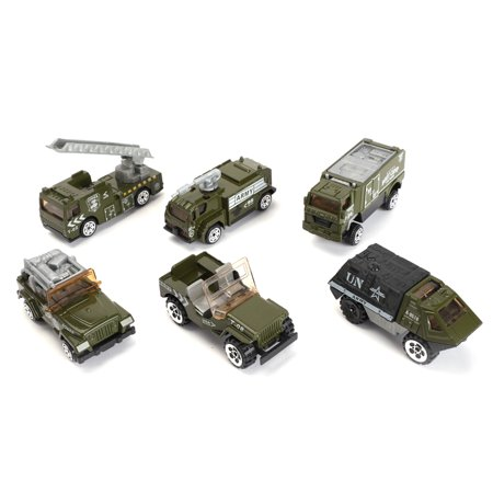 6pcs Mini Simulation Military Vehicle Playset Cars Model Alloy Army Tank with Accessories